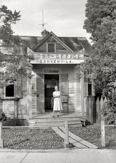 """Circa 1939. """"Post Office in Convent, Louisiana."""" 35mm nitrate negative by John Vachon for the Farm Security Administration."""