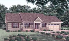 Love the angled kitchen to the great room plus the front porch