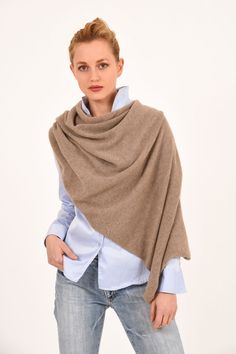 Poncho - Dress Topper - Light Brown - Jennigraf e.U. Poncho Dress, Pashmina Wrap, Cashmere Poncho, Chunky Scarves, Summer Evening, Autumn Day, Brown, Classic, Collection