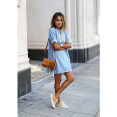 my style ❤ liked on Polyvore featuring denim dress
