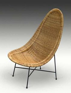 Attributed to Ico Parisi - Rattan lounge chair, circa 1955