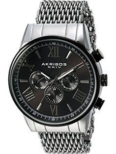 Akribos XXIV Men's Swiss Quartz Multi-Function with Silver-Tone Case with Black Sunray Dial on a Shark Mesh Stainless Steel Bracelet Watch AK919SSBK ❤ TWI Watches, LLC