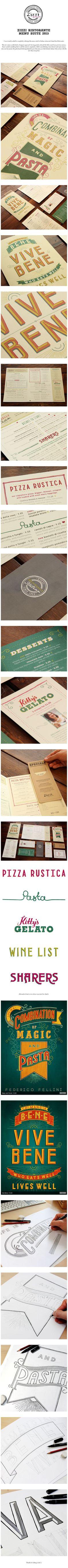 Redesign the menu suite for Italian restaurant chain Zizzi Ristorante. #Typo #restaurant #lettering via: Behance.net. Uploaded by: http://pinterest.com/zoeindesign/