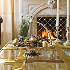 Wrap Your Coffee Table:     Transform a coffee table into a wrapped Christmas present by crisscrossing strands of ribbon over the top and sides for a giftlike effect. Silver family heirlooms add to the sparkly decorating theme.