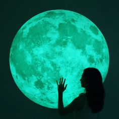 World's largest Moonlight wall-sticker /XL-size, Clair De Lune (glow in the dark moon wall sticker-100cm/39inch) #Photography #quirky