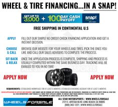 No offering no credit needed through Snap Finance. Large selection of wheels, rims and tires financing. All orders are shipped free within the Continental U. Car Repair Service, Auto Service, Rims And Tires, Wheels And Tires, Wheel Visualizer, Tyre Brands, Wheel And Tire Packages, Wheels For Sale, Credit Check