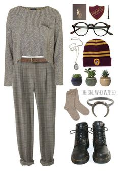 """""""granger, hermione"""" by ai-m ❤ liked on Polyvore featuring Topshop, Dr. Martens and TEN"""