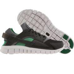 pretty nice 2a6ae 82660 Nike Hurache Free Run shoes in black, college grey, and pine green.