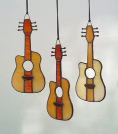 Stained Glass Acoustic Guitar fan pull by lizardkey on Etsy