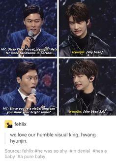 """Hyunjin: """"shiiiiiit dude y u gotta say that""""         MC:""""show us ur smile!"""".   Hyunjin """"shiiiiiitz bruh u gonna spoil ma image now"""""""