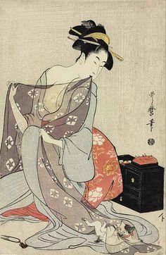 (Japan) by Kitagawa Utamaro woodblock print. Japanese Drawings, Japanese Artwork, Japanese Prints, Geisha Kunst, Geisha Art, Japan Illustration, Art Occidental, Japan Painting, Traditional Japanese Art
