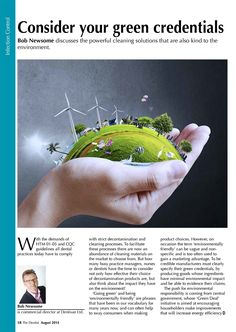 Bob Newsome - Consider your green credentials - The Dentist, August 2014 (58/60). Page 1 of 2.