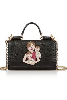 Dolce  amp  Gabbana Appliquéd textured-leather iPhone wallet ( 1 c4f8f091ab