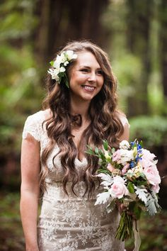 Cecilia and Craig's Redwood Forest Wedding - Photos by Dennis of Viera Photography #bouquets #bridalhair