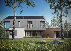 Modern single-family house by Krzysztof Kowal, via Behance Garden Architecture, Modern Architecture, Glass House, Home Fashion, Modern House Design, Detached House, Exterior Design, Outdoor Living, House Plans