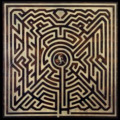 """Michael Palladino : New image from the series """"LABYRINTH'- carved wooden panel, torched, and waxed- 22×22″"""