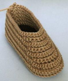 Crocheted Soccasins, a free pattern by Megan Mills.