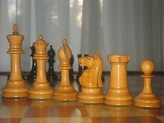 """Vintage Staunton 4"""" Chess Set circa 1900 probably made by F.H. Ayres of London"""