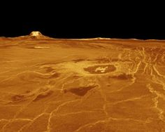 The surface of Venus, taken at an altitude of several kilometres using radar imaging and false colour. One of the Magellan probe's many revealing studies of the surface