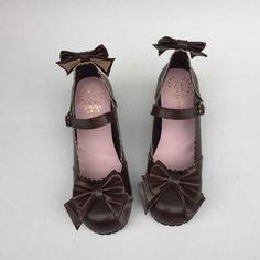 Light Coffee Bows Lolita Shoes | lowest heel