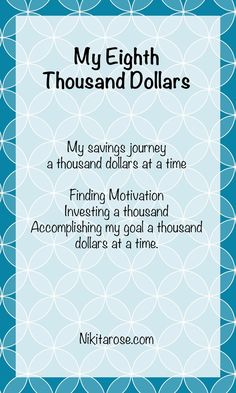 My Eighth Thousand Dollars. A savings challenge inspired by The Richest Man in Babylon. #MoneyBoss #MoneyGoals #FinancialFreedomJourney