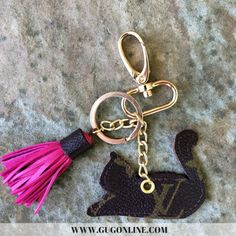 Authentic Upcycled and Recycled Louis Vuitton Monogram Canvas Cat Charm with Snap On and Key Fob and Mini Tassel