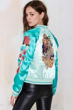 Vintage Chinatown Embroidered Reversible Varsity Jacket