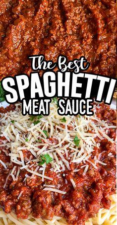 Spagetti And Meat Sauce, Spaghetti Beef Recipe, Homemade Spaghetti Meat Sauce, Ground Beef Spaghetti Sauce, Spaghetti Sauce Easy, Homemade Meat Sauce, Pasta With Meat Sauce, Garlic Spaghetti, Spaghetti Recipes