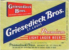 Labels Griesedieck Bros. Premium Beer Griesedieck Bros. Brewing Co. (Post-Prohibition) Saint Louis Missouri United States of America