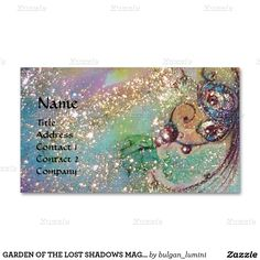 GARDEN OF THE LOST SHADOWS MAGIC BUTTERFLY PLANT MAGNETIC BUSINESS CARDS