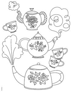 Tea cups and tea pot coloring page