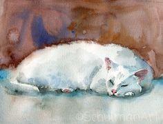 cat art   ORIGINAL watercolor painting   white and marsala brown