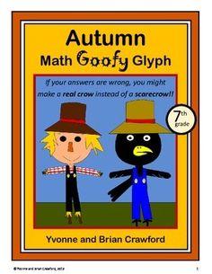 Autumn Math Goofy Glyph (7th grade Common Core) $