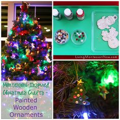 Simple Montessori-inspired activity - painting wooden ornaments for Christmas gifts (part of the 20 Days of a Kid-Made Christmas: Ornaments series)