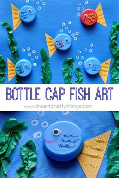 Bottle cap fish art sea creature crafts for kids preschool, preschool animal crafts, art Sea Animal Crafts, Sea Crafts, Animal Crafts For Kids, Toddler Crafts, Preschool Crafts, Art For Kids, Diy And Crafts, Arts And Crafts, Recycled Crafts For Kids