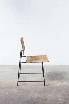 Herta-Maria Witzemann, Enamelled Metal Rattan Side Chair, 1954