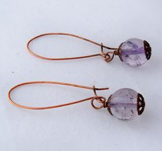 Amethyst Earrings  Antiqued Copper by BiddysBeads on Etsy, $9.99