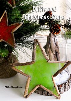 How to make a holiday Driftwood star for Christmas using driftwood and candy for a stained glass look. Driftwood Christmas Tree, Coastal Christmas, Simple Christmas, All Things Christmas, Christmas Holidays, Christmas Stars, Cowboy Christmas, Beach Christmas, Christmas Card Crafts