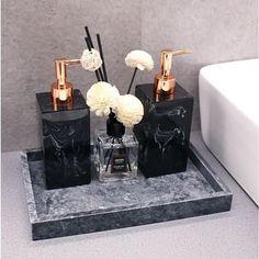 Bathroom Counter Decor, Bathroom Sets, Bathroom Trays, Master Bathroom, Bathroom Storage Boxes, Black Bathroom Decor, Vintage Bathroom Decor, Bathroom Marble, Small Bathrooms