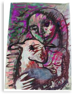 """""""Mary and Her Lamb (Original Tempera Painting by AliceCCI) """" Canvas Print by VanyssaGraphics 