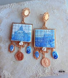 Portugal Antique AZULEJO Tile Replica Earrings   Great by Atrio