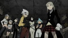 All Star Team:. soul eater, maka, blackstar, tsubaki, kid, Liz, and patty. They were allegedly wearing party clothes about 60seconds ago, but luckily kept their fighting clothes with them...? #TV convenience!