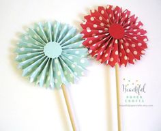 4 pc Red and Aqua Rosette Wands||Pepper mint Paper Fans||Rosette Centerpieces||Christmas Decor||Paper Rosettes||Holiday Candy Buffet Decor