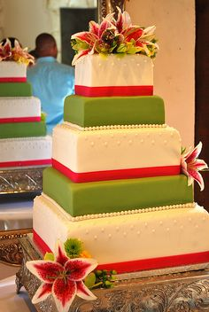 Lime green and hot pink wedding cake.