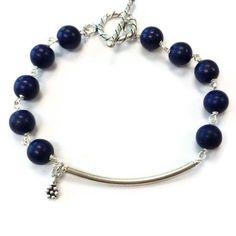 Blue Bracelet Sterling Silver Jewelry Navy by jewelrybycarmal, $35.00
