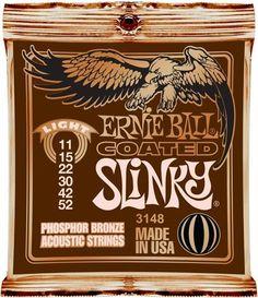 Ernie Ball 3148 Coated Slinky Acoustic Guitar Strings   Light