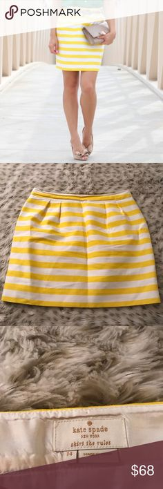 Kate Spade Petula Yellow Striped Skirt silk blend Kate Spade petula yellow and white striped skirt! Size 14! Waist is about 17 inches across ! Length is about 18.5 inches! Zip closure on the side! Silk blend! kate spade Skirts
