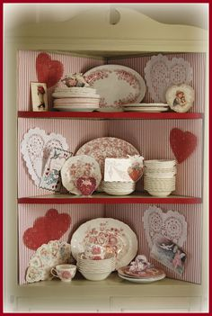 Valentine's Day decor -display my red/white dishes and pottery