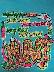 Southern Chics Funny Scrub Wearin Nurse CNA RN Girlie Bright T Shirt | SimplyCuteTees