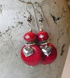 Not a tutorial....Heart of Hearts Handmade Beaded Earrings Red Crystals Turquoise. $14.00, via Etsy.